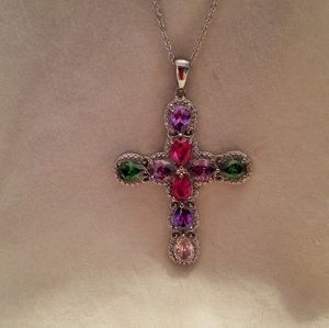 Multicolor gemstone cross necklace